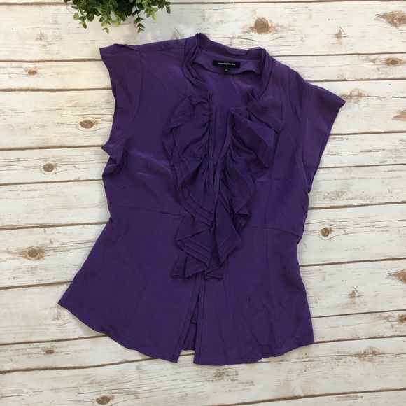 c4391a6b Nanette Lepore Silk Ruffle Purple Top. M_5a9bfc9545b30c332f34b15d